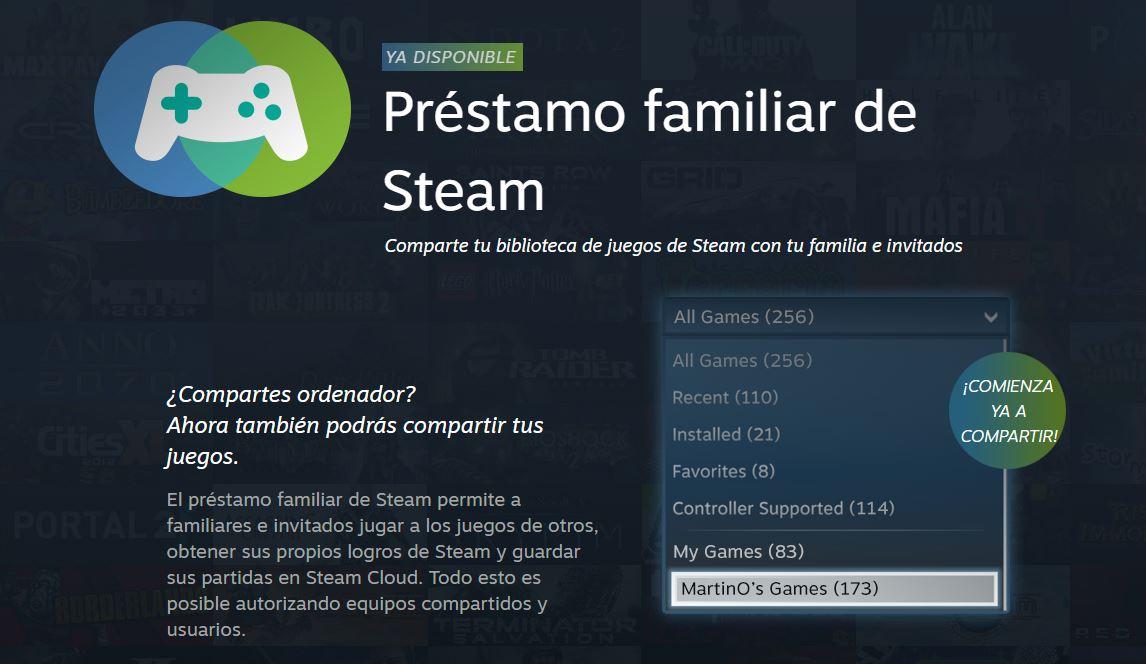 Préstamo familiar de Steam, steam family sharing